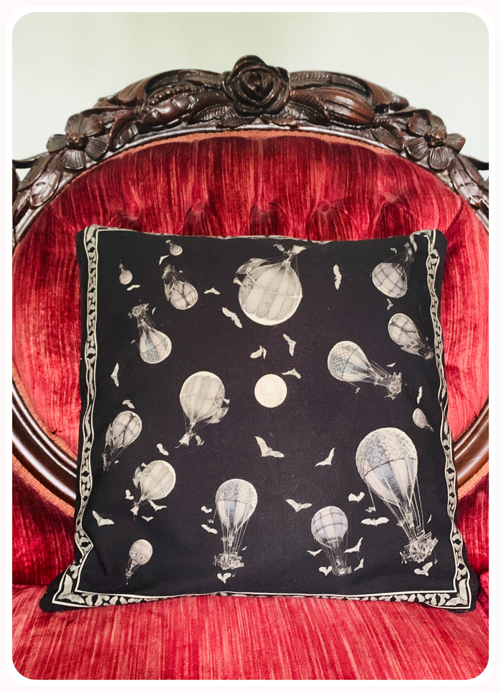 Full Moon Bats & Balloons Canvas Pillow