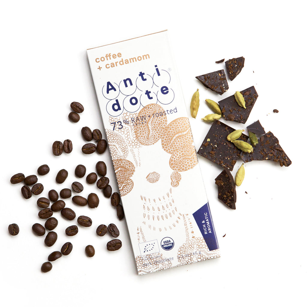 Antidote 73% Raw and Roasted Chocolate with Coffee & Cardamom