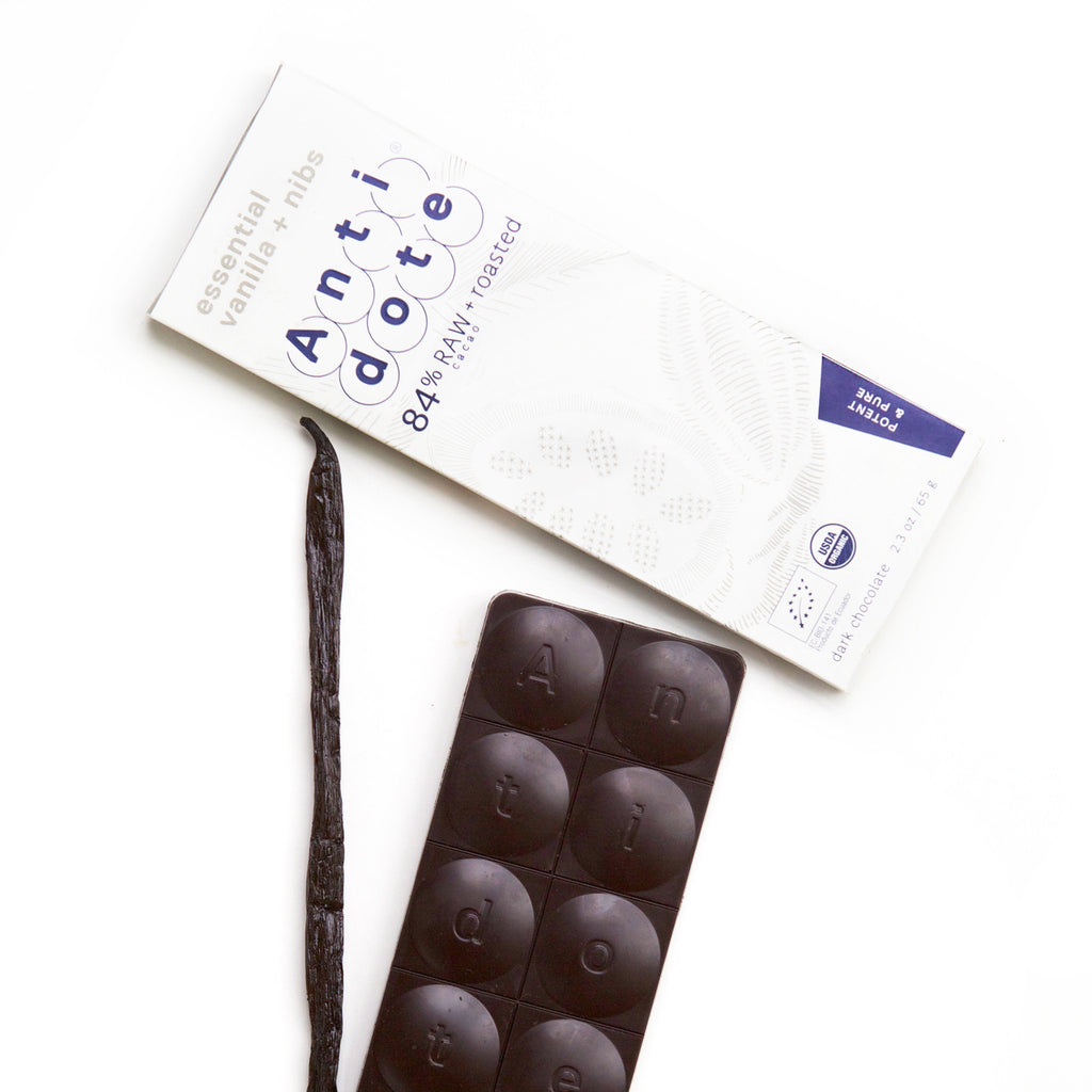 Antidote 84% Raw and Roasted Chocolate with Essential Vanilla & Nibs