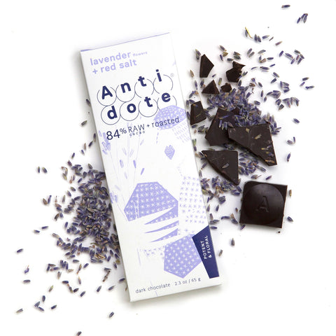 Antidote 84% Raw and Roasted Chocolate with Lavender and Red Salt