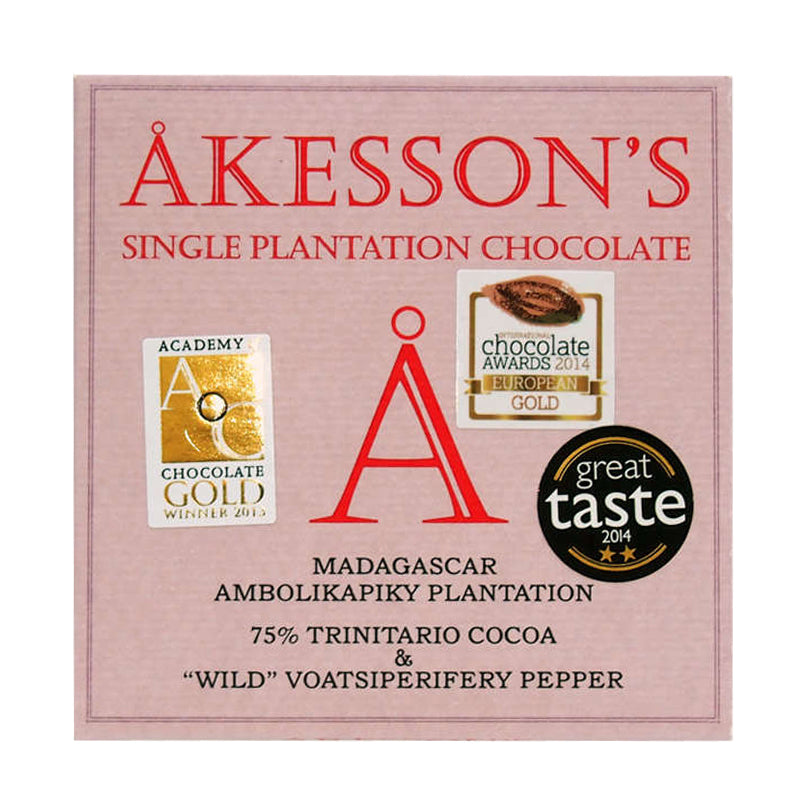 Akessons 75% Dark Chocolate Bar With Wild Pepper