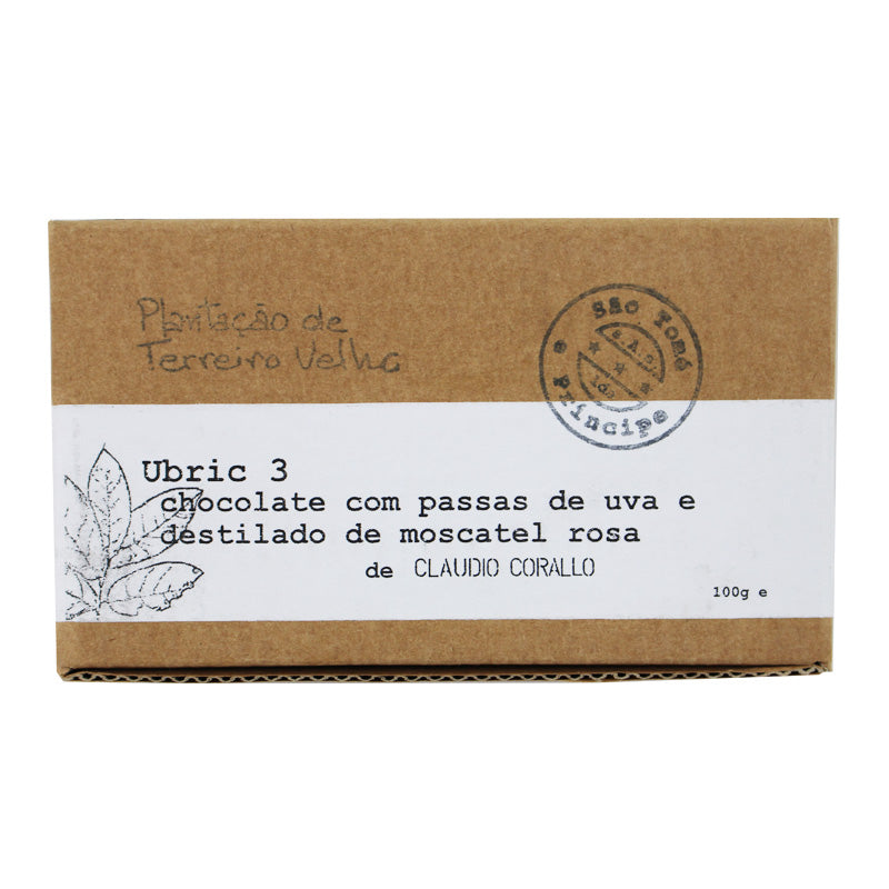 Claudio Corallo Ubric 3 Chocolate 70% with Raisins in Rose Muscat Distillate