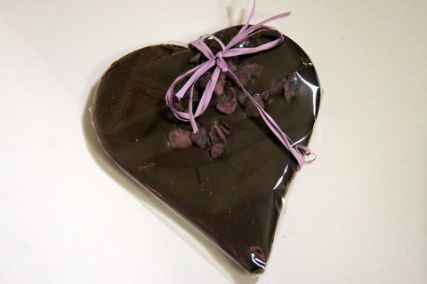 Bouga Cacao 77% Chocolate Heart With Crystallised Violet