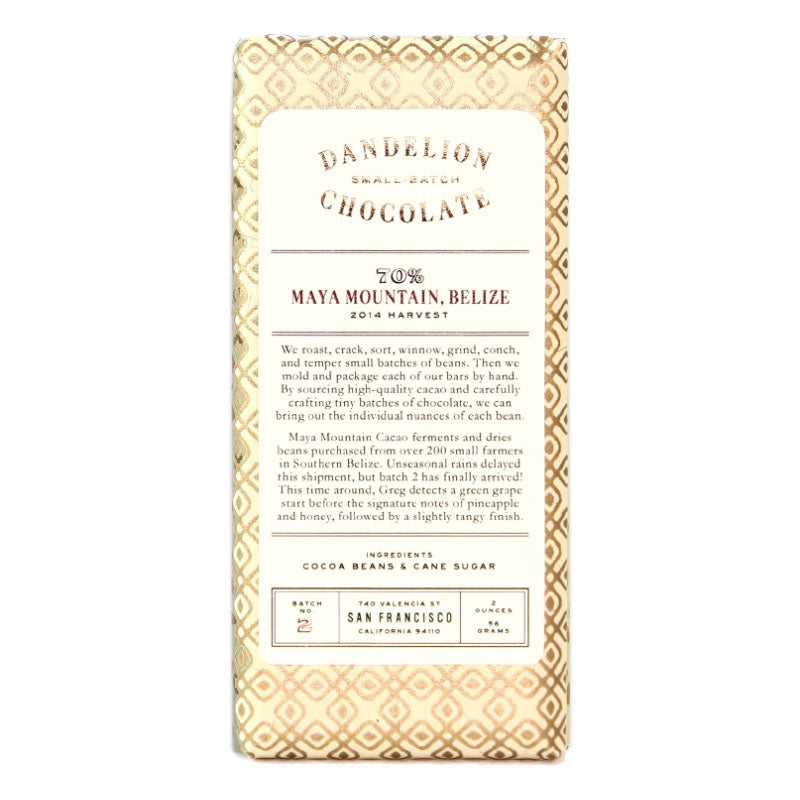 Dandelion Maya Mountain Belize Dark Chocolate