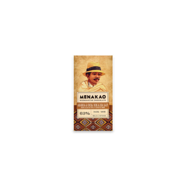 Menakao Dark Chocolate With Arabica Coffee, Sea Salt & Nibs (Taster bar) (CARTON24)