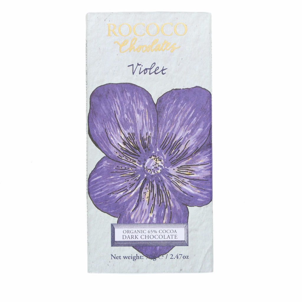 Violet Organic Dark Chocolate Artisan Bar