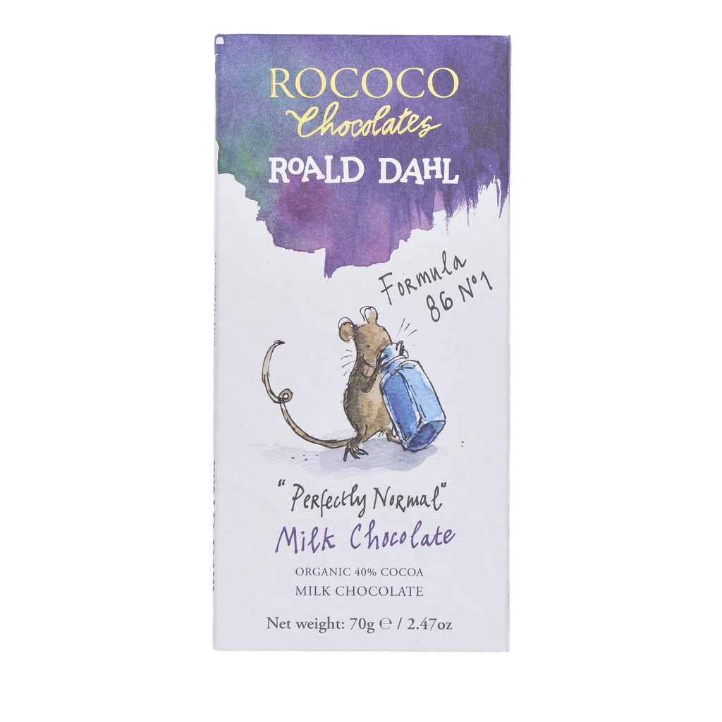 "Rococo & Roald Dahl: ""Perfectly Normal"" 40% Cocoa Organic Milk Chocolate Bar"