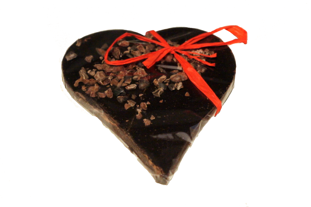 Bouga Cacao 100% Chocolate Heart With Cocoa Nibs
