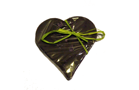 Bouga Cacao 100% Chocolate Heart With Crystallised Violet