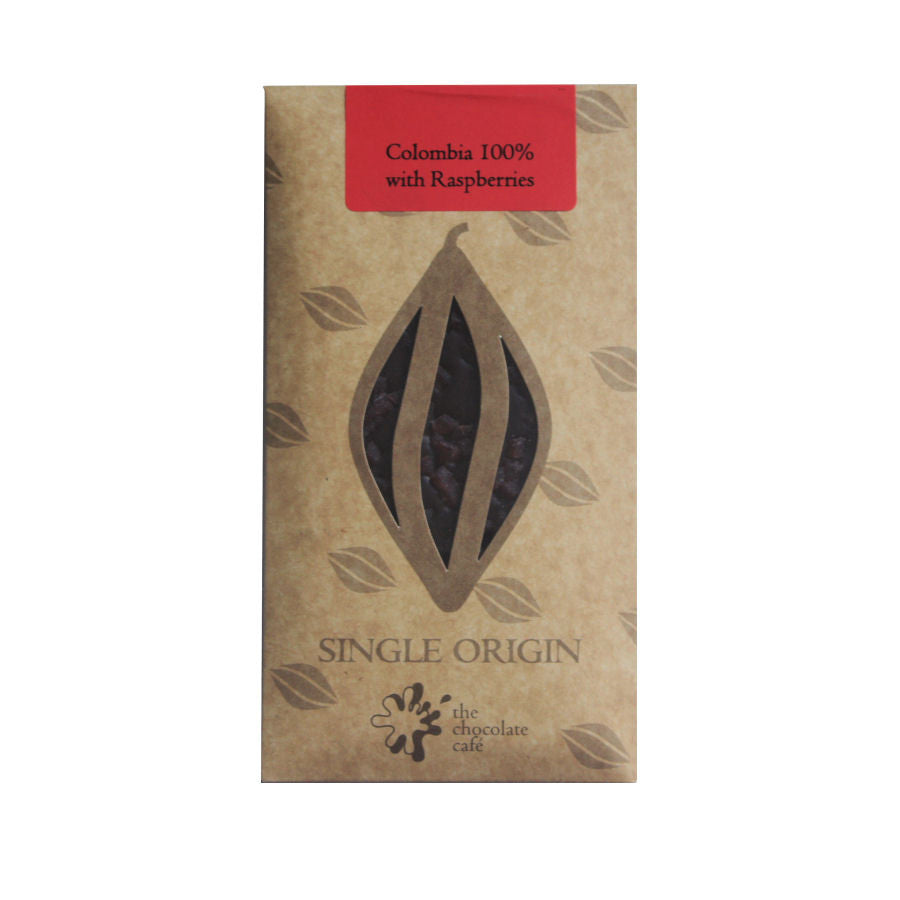 Colombia 100% Dark Chocolate with Raspberry Pieces