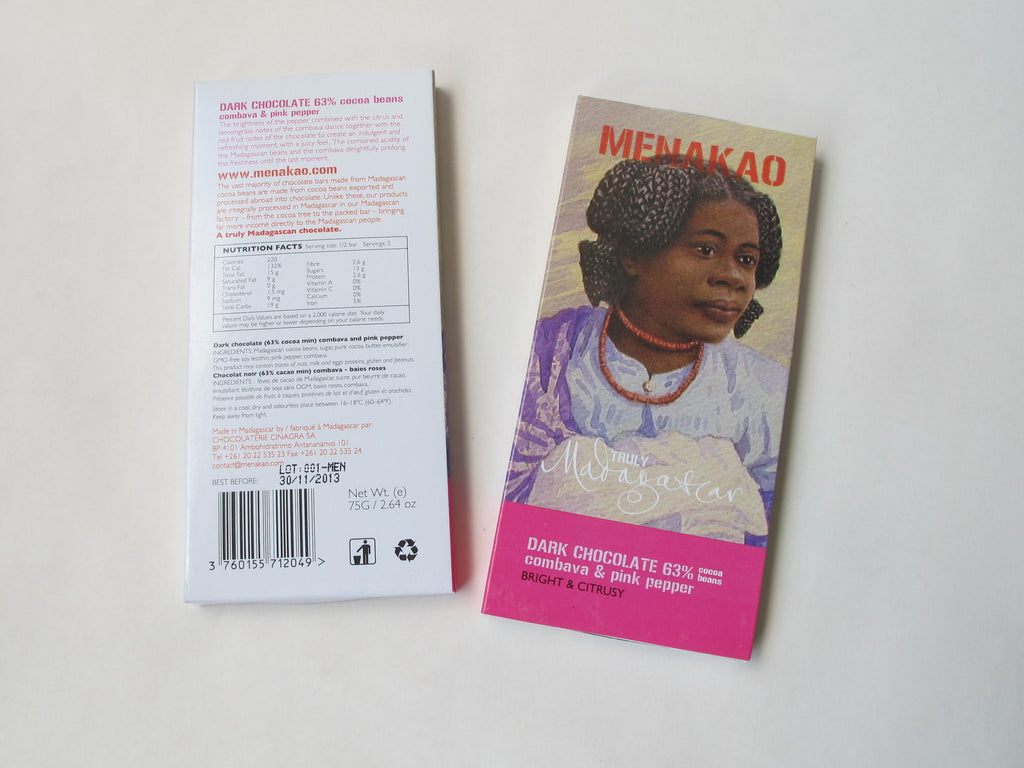 Menakao 63% Dark Chocolate With Combava & Pink Pepper