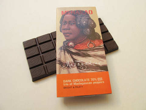 Menakao 70% dark chocolate trio of Madagascan peppers