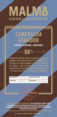Malmo, Esmeralda Ecuador, 68% Dark Chocolate bar