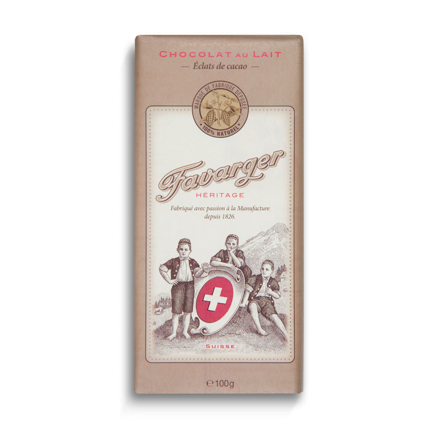 Favarger Heritage 43% Milk Chocolate with Cocoa Nibs