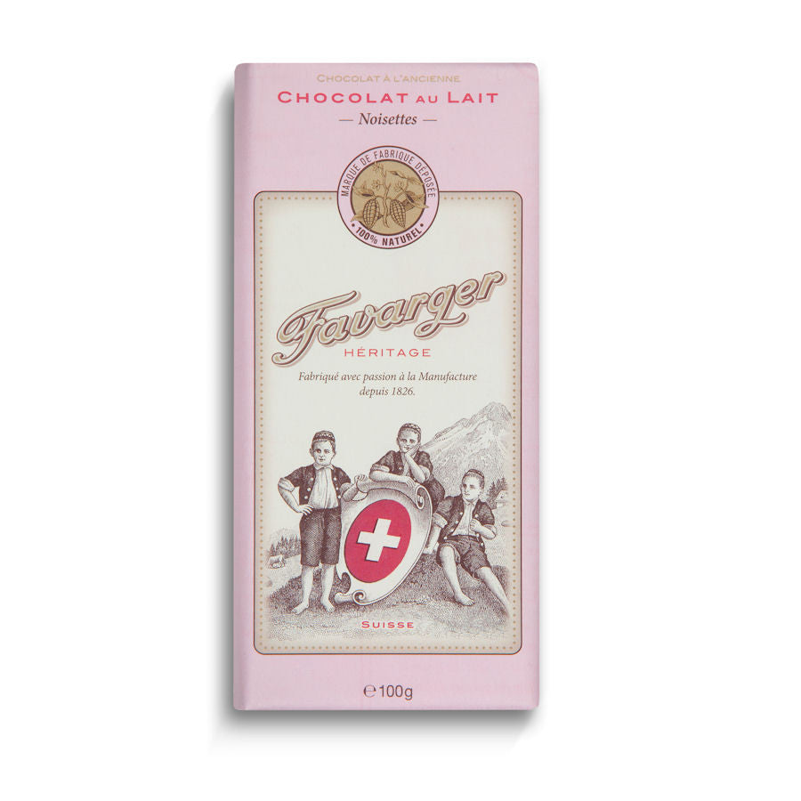 Favarger Heritage 38% Milk Chocolate with Noisettes