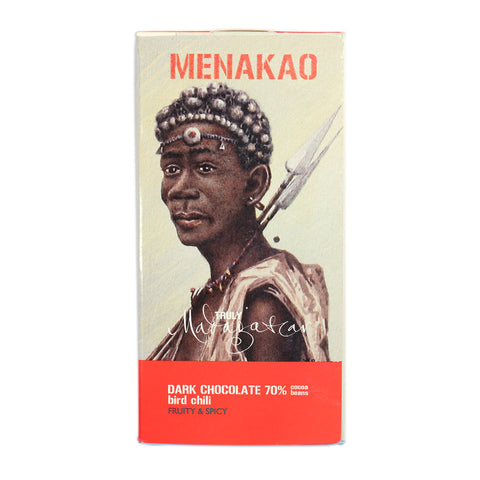 Menakao Dark Chocolate with Bird Chilli (Taster Bar) (CARTON24)