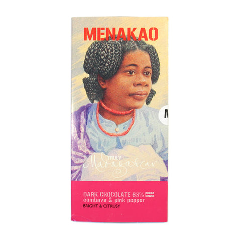 Menakao Dark Chocolate With Combava & Pink Pepper (Taster Bar) (CARTON24)