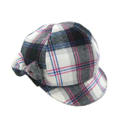 Multi - Plaid Wool Newsboy - Pink / Grey / Black