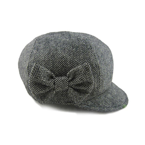 Grey Herringbone Wool Newsboy - Grey / Black