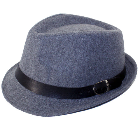Wool Fedora - Grey with Black Belt
