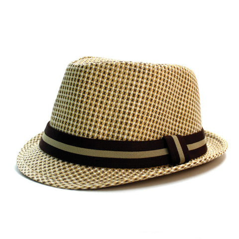 Woven Straw Fedora - Light Brown