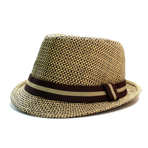 Woven Straw Fedora - Dark Brown