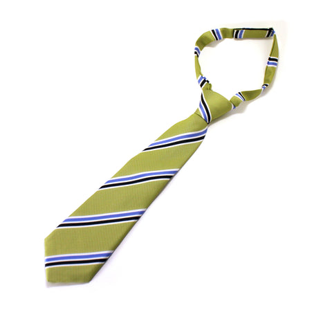 Necktie - Green with Blue Stripe