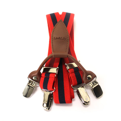 Suspenders - Black & Red Stripe