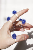 Glass Cluster Ring - Cobalt