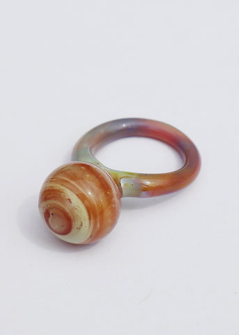 Marbled Glass Orb Ring // Size 8.75