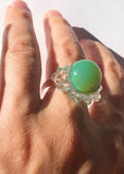 Blue Green & Clear Glass Orb Ring // Size 8.5