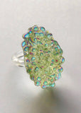 Aura Sea Green Cluster Ring - Size 7.75