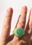 Blue Green Glass Orb Ring // Size 6