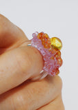 Yellow & Lilac & Orange Glass Cluster Orb Ring // Size 8.25