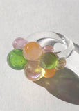 Pink, Peach & Teal Glass Bubble Ring // Size 6.5