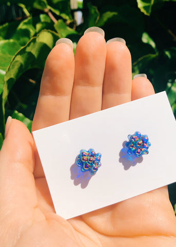 Aura Cluster Dot Earrings - Cobalt Blue