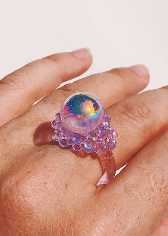 Aura Purple Orb Ring - Size 7.75
