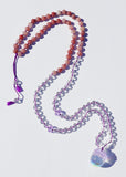 Rainbow Crystal Ball Mala Necklace - Purple Aventurine