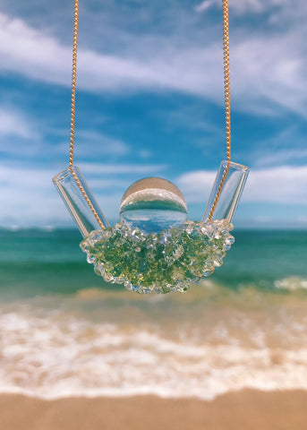 One of A Kind // Sea Foam Clustered Crystal Ball Necklace
