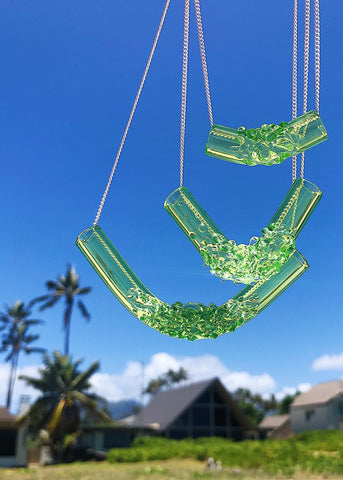 Neon Green Cluster Tube Necklaces