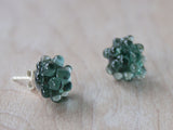 Glass Cluster Dot Earrings - Emerald Green