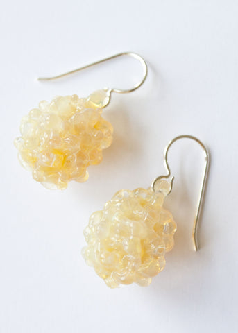 Glass Cluster Ball Earrings - Yellow Pearl