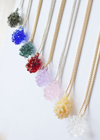 Glass Cluster Ball Necklace - Choose Your Color