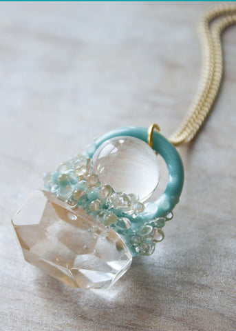One of A Kind // Glass Crystal Orb Necklace