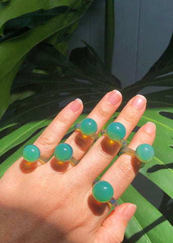 Sea Green Glass Orb Ring // Limited Quantities