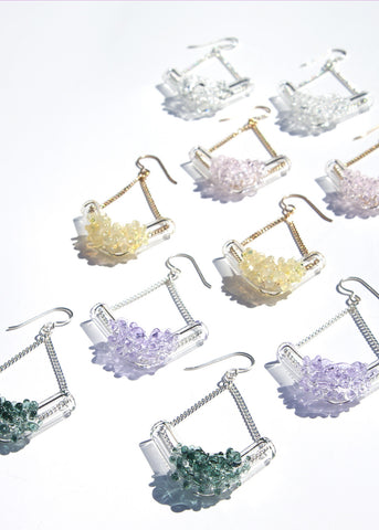 Glass Cluster V Earrings - Choose Your Color
