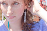 Glass Cluster Stem Earrings - Clear