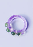 Lilac & Green Dots Ring // Size 7.75