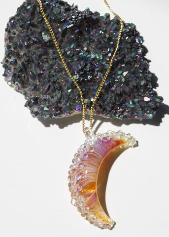 One of A Kind // Amber Purple Moon Necklace