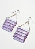 Minimal Glass Tube Earrings - Clear or Lilac